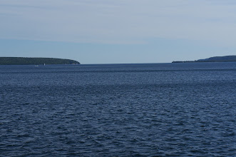 Photo: We head out through the channel, with Grand Island on the left and the Pictured Rocks Lakeshore on the right.