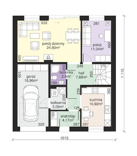 Dom przy Wiązowej 3 - Rzut parteru