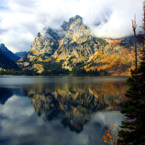 GRAND TETONS REFLECTION ON JENNY LAKE by Gerry Slabaugh - Landscapes Waterscapes ( reflection, wyoming, jenny lake, fishing, landscape, grand tetons, grand teton national park,  )