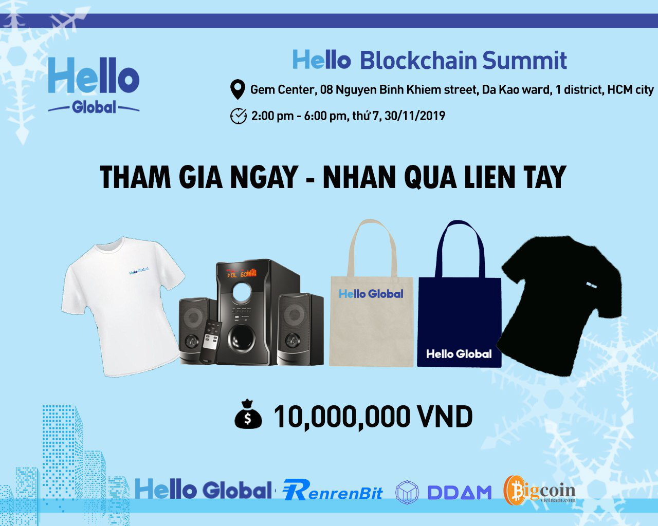Phần thưởng tham gia Hello Blockchain Summit