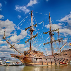 El Galeón Andalucía in Newburgh, NY by Debbie Quick - Transportation Boats ( sailboat, newburgh, replica, outdoor photography, boat photography, clouds, float, floating, 18th century ship, wood, antique, sails, hudson river, pirate boate, 18th century, new york, water, boat, outdoor magazine, transportation, outdoors, wooden, el galeón andalucía, hudson valley, docked,  )