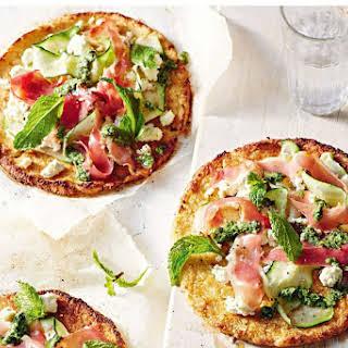 Healthy Cauliflower-crust Pizza With Ricotta, Prosciutto And Mint Pesto.