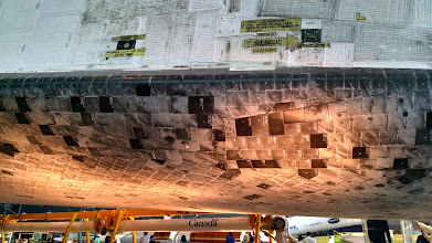 Photo: Heat shield tiles affixed to the belly of the Space Shuttle Discovery.