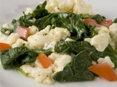 Spray a non-stick pan with non-stick cooking spray.  Add spinach.  After spinach...