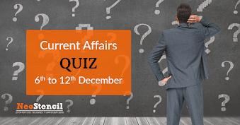 Current Affairs Quiz (6 December – 12 December, 2017)