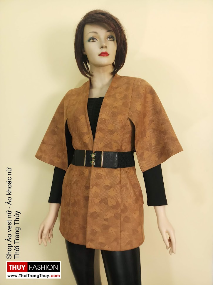 Áo khoác Cape nữ vải da lộn V668 thời trang thủy hải phòng