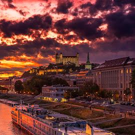 Sunset by Gabriel Konde - Buildings & Architecture Other Exteriors ( clouds, bratislava, blue hour, sunset, danube, city, river,  )
