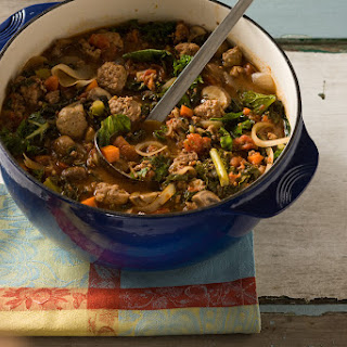 Beef and Sausage Stew with Winter Greens.