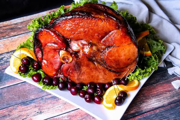 Holiday Ham With A Cherry Bourbon Glaze.