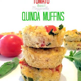 Tomato Basil Mozzarella Quinoa Muffins.