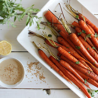 Roasted Carrots with Sweet Tahini Drizzle