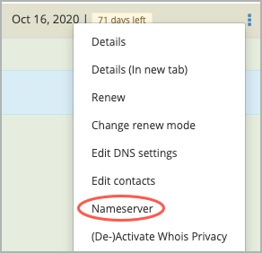 Nameserver is highlighted with a red circle on the the More list.