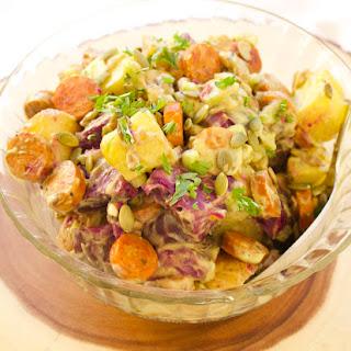 Potato & Jalapeño Chicken Sausage Salad with Avocado Dressing