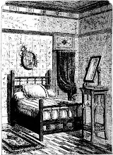 Photo: bedstead and toilet stand. 1878