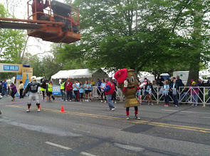 """Photo: Mascots cheering during the14th Annual Broad Street """"Fun"""" Miler -- a one-mile kids run"""