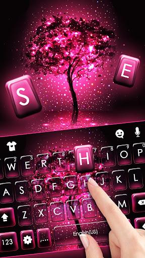 Neon Pink Galaxy Keyboard Theme screenshot 2