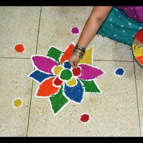 by Ruhi Chanda - Artistic Objects Other Objects ( diwali, festival, celebration, rangoli, colours )
