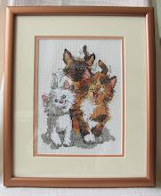 """Photo: Janlynn, """"Коты Дакпорта"""" размер см 13х18 В оригинале была Аида 14, заменила на Линду 27. Забавная детская картинка, """"отдыхалочки"""" в прошлом. Подарена девушке сына на день рождения, она обожает кошек."""