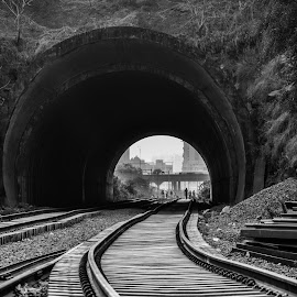 The curve by Mansi Solanki - Black & White Landscapes ( landscape photography, thoughtful, tracks, bnw, curves,  )
