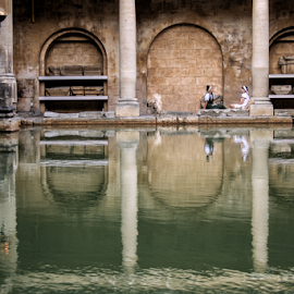 Bath (UK) by Gianluca Presto - Buildings & Architecture Architectural Detail ( water reflection, historic, reflection, columns, architectural detail, historical, girls, bath, water, ancient, architecture, arches )