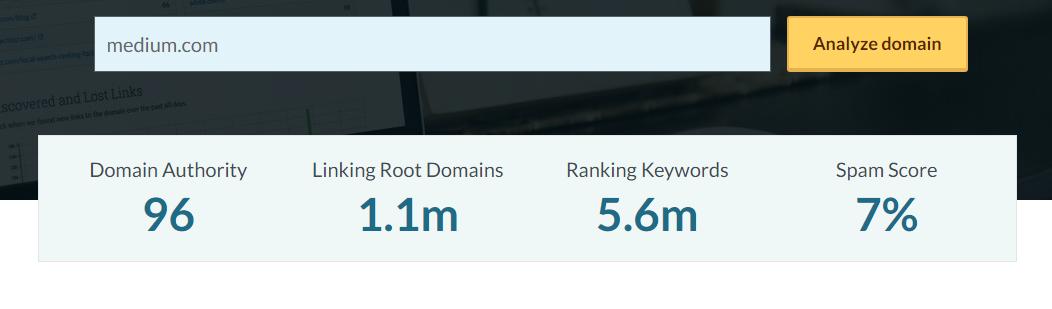 domain authority авторитетность домена Medium