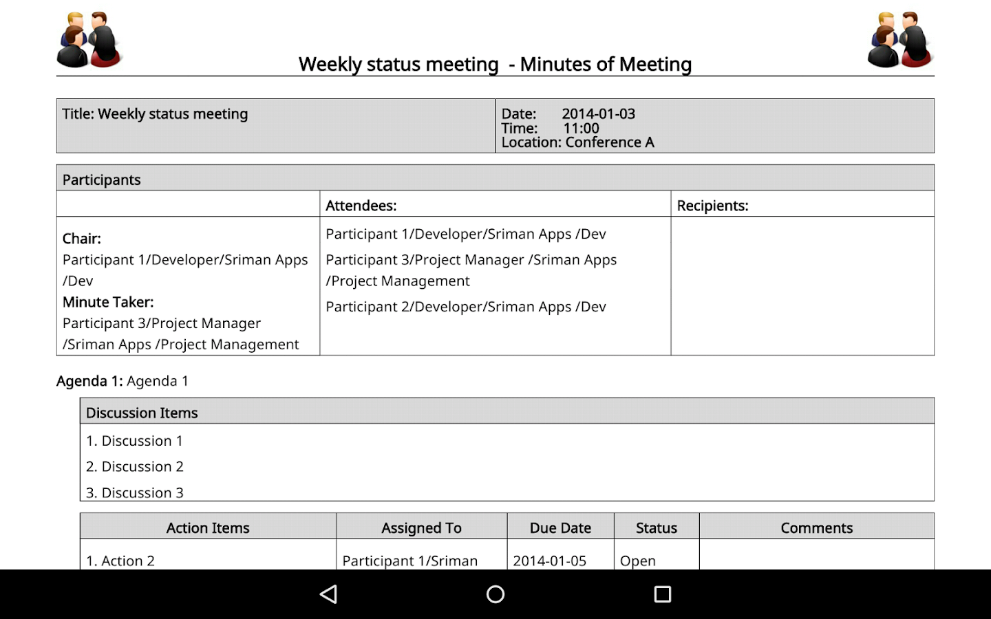 Meeting Minutes Trial- screenshot