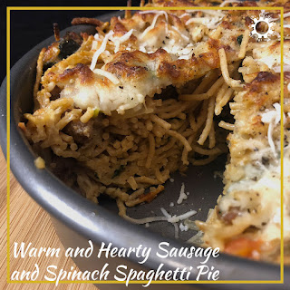 Warm and Hearty Sausage and Spinach Spaghetti Pie.
