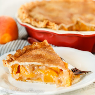 Fresh Peach Pie Recipe with cinnamon sugar crust.
