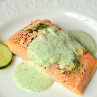 Salmon with Cucumber Cilantro Sauce