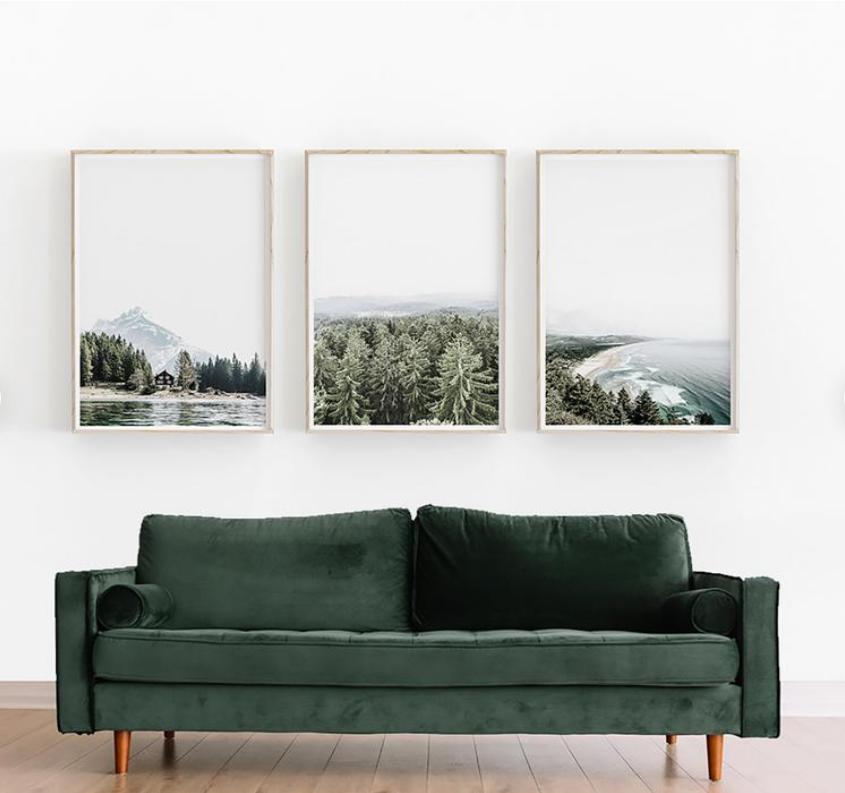 пейзажи в комнате интерьере