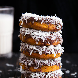 Baked Sweet Potato Donuts with Dark Chocolate + Coconut