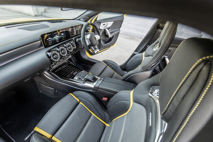 The hot-blooded Mercedes has some zooty interior décor. Picture: SUPPLIED
