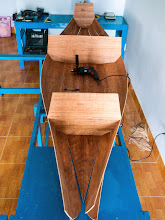 Photo: a look from stern to bow, 2 pairs of bilges stitched