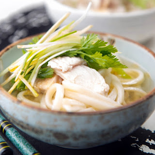 Chicken Soup with Coriander Ginger and Udon Noodles.