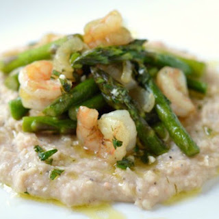 Shrimp and Asparagus with White Bean Puree.