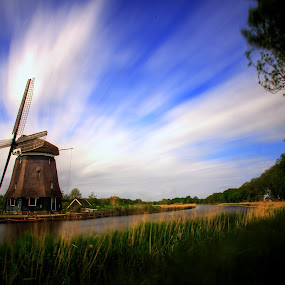 Windmill extravaganza by Mike Bing - Buildings & Architecture Public & Historical ( clouds, mill, holland, long exposure, netherlands, windmill )