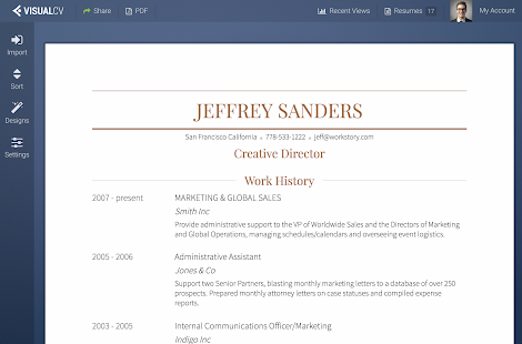 visualcv resume builder screenshot thumbnail