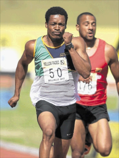 NOT FAST ENOUGH: Sprinter Thuso Mpuang during the men's 200m final at the Yellow Pages Interprovincial meet at the Bellville Athletics Track in Cape Town recently. Photo: Shaun Roy/Gallo Images