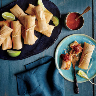 Chicken Tamales with Ranchero Sauce.