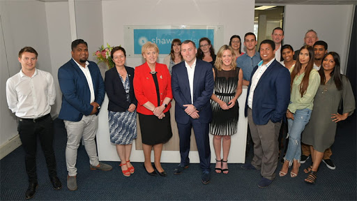 Third from left: Irish Ambassador to SA Fionnuala Gilsenan, next to her is Irish government minister, Heather Humphreys, and Shaw Academy CEO James Egan in the navy suit.