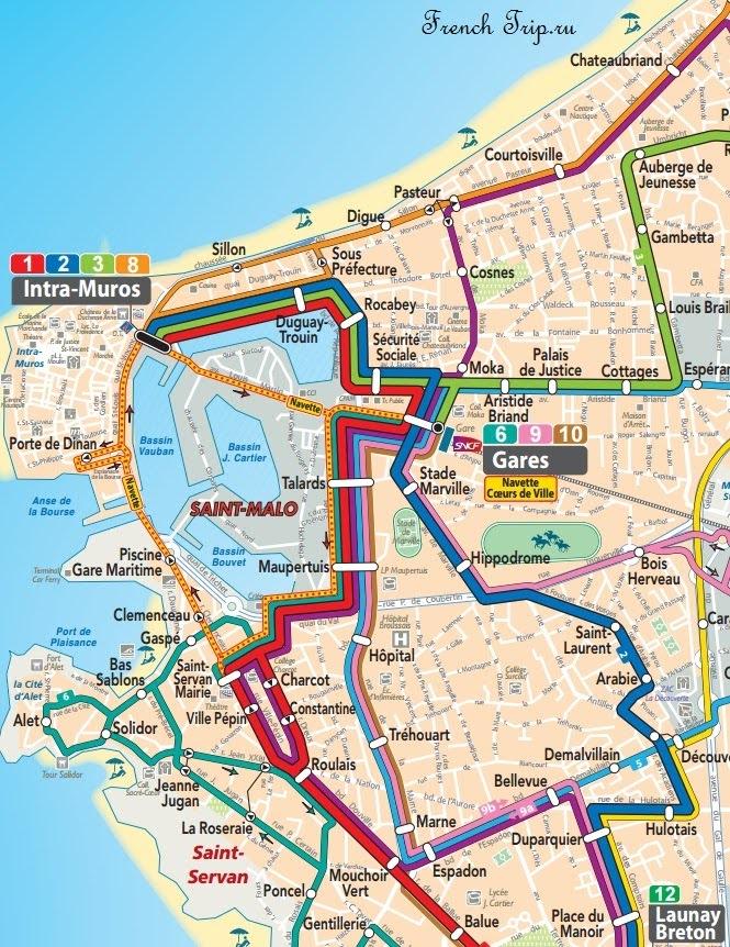 Схема маршрутов автобусов в Сен-Мало