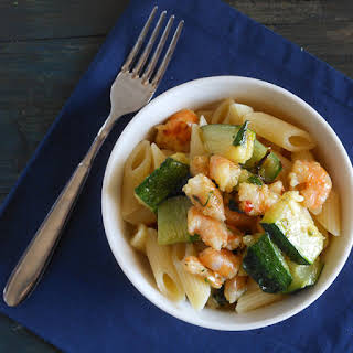Zucchini And Shrimp Pasta.