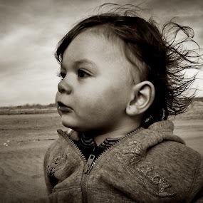 Thousand Yard Stare by Gregg Eisenberg - Babies & Children Children Candids ( child, black and white, stare, dark, son, beach, boy, glaze )