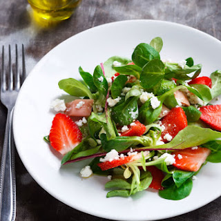 Strawberry Salad with Lamb Lettuce and Feta.