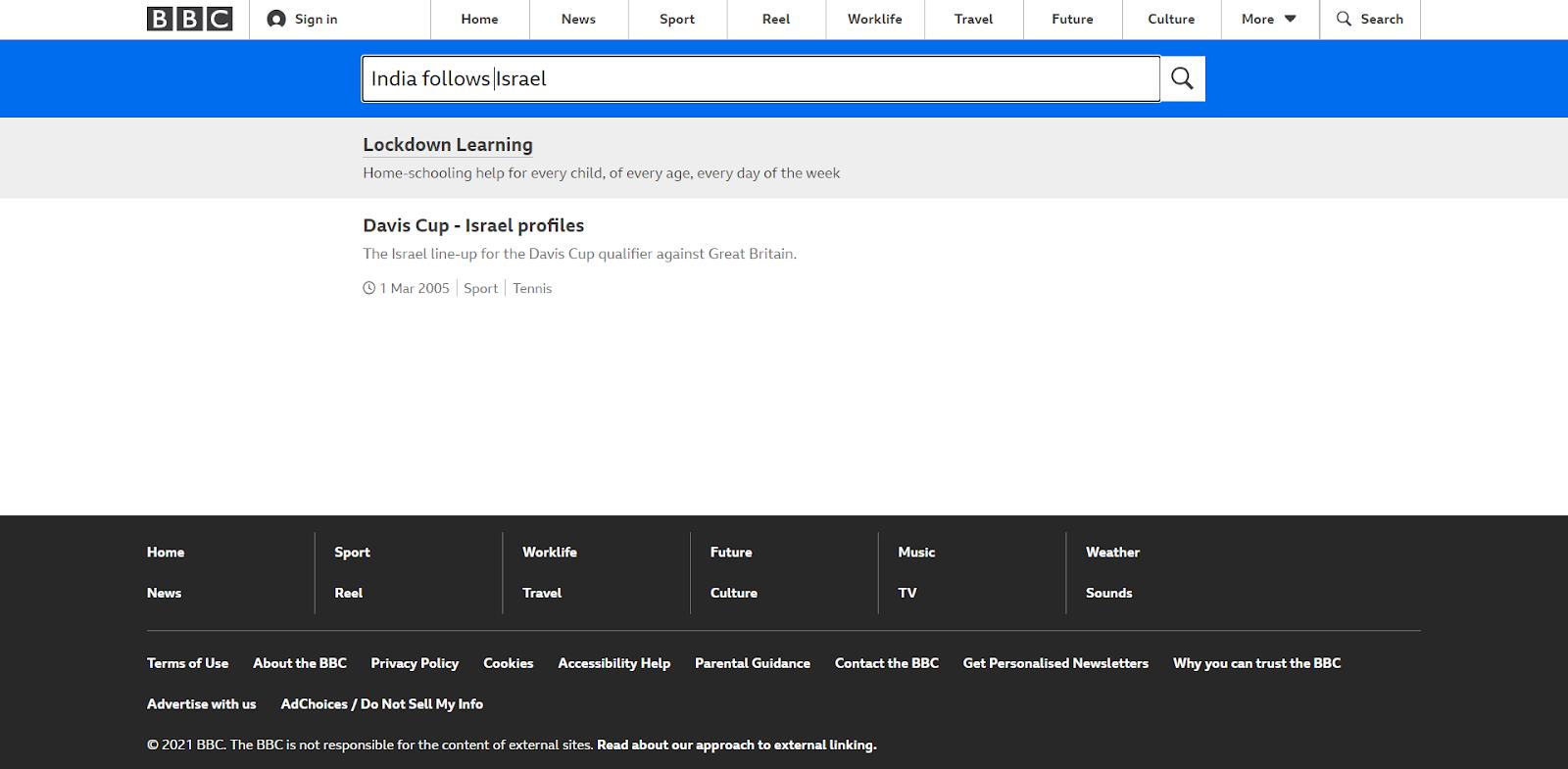 BBC की वेबसाइट का स्क्रीनशॉट