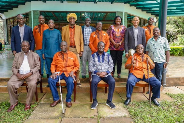 ODM leader Raila Odinga hosted Kikuyu Council of Elders led by their Chair Wachira Kiago on Friday at his home.