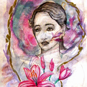 She and her flowers by Vesna Disich - Painting All Painting ( flowers )