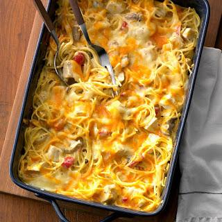 Hearty Chicken Spaghetti Casserole.