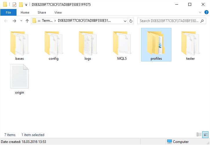 Opening profiles folder in MT5