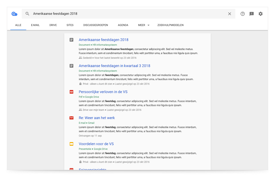 Browserweergave van Cloud Search